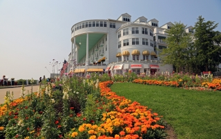 The famous Grand Hotel on Mackinac Island, Michigan, one of many Michigan islands.