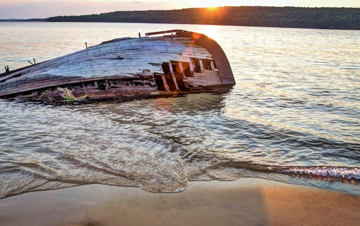 39085355 - shipwreck along a remote lake superior beach in pictured rocks national lakeshore in michigan