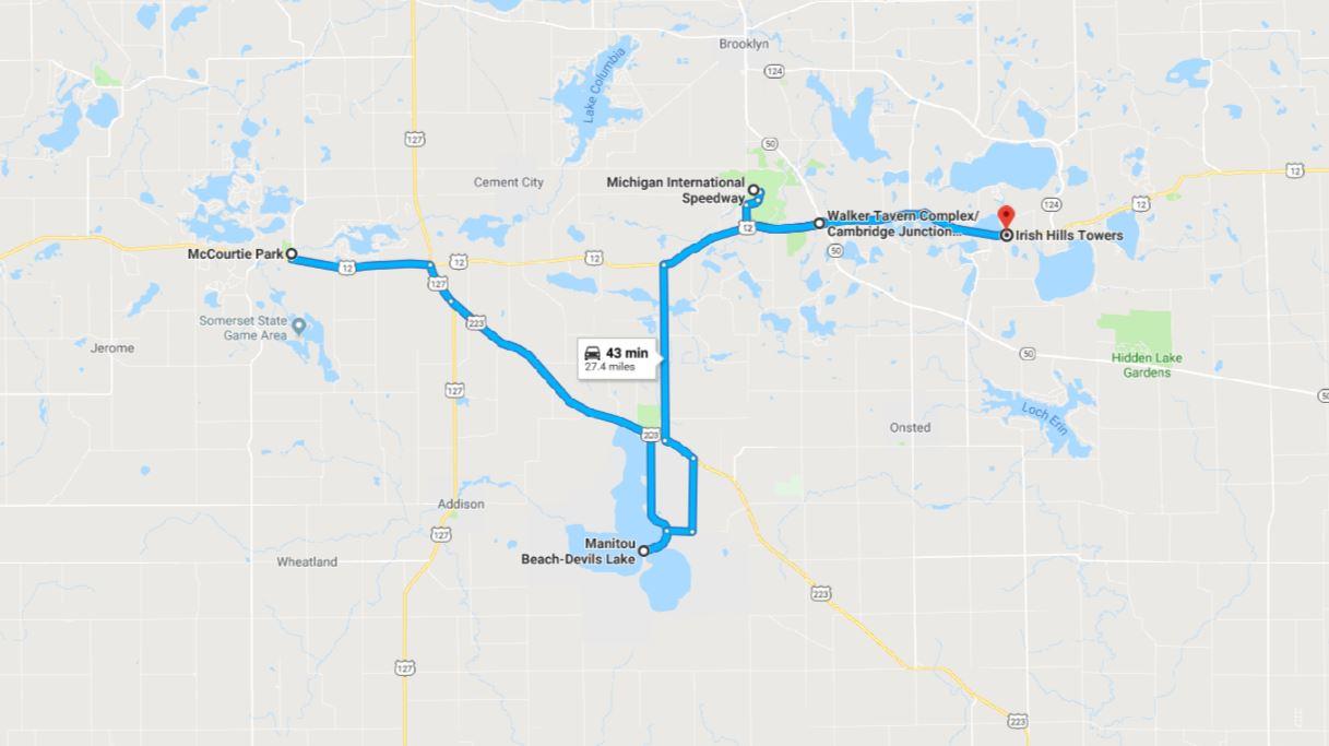 Addison Michigan Map.Central Michigan Region Driving Tour Irish Hills Marvac