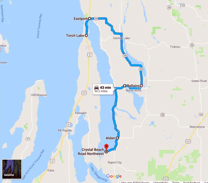 Torch Lake Michigan Map Northwest Michigan Driving Tour: Torch Lake   MARVAC